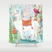 llama Shower Curtains featuring Llama by The Wildest Little Things