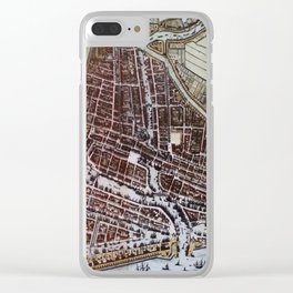 Replica city map of Rotterdam 1652 Clear iPhone Case