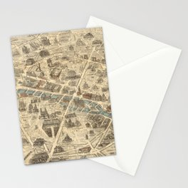 Vintage Pictorial Map of Paris France (1871) Stationery Cards