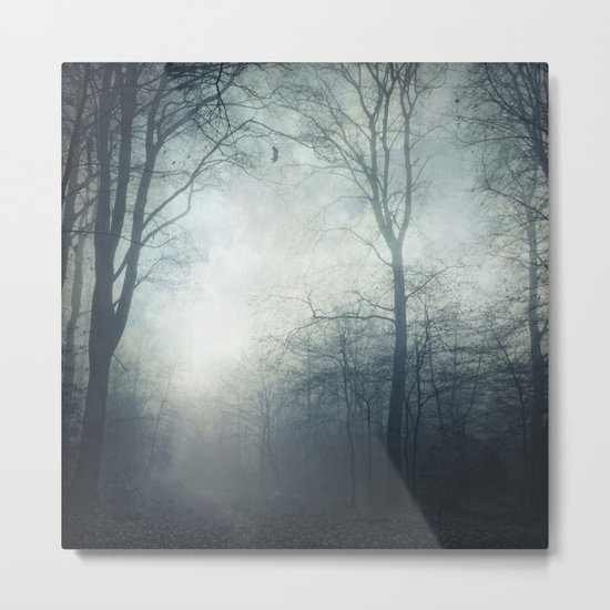 Dark Path - Misty Forest in November Metal Print