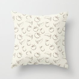 Vegetable pattern - beige. Throw Pillow