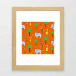 Jiraffe and elephant african pattern Framed Art Print