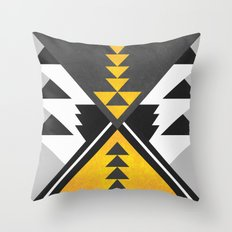 Yellow Tribal Throw Pillow