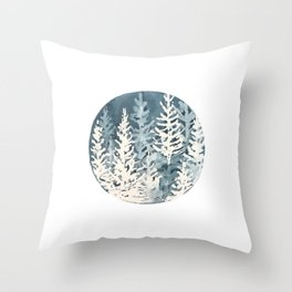 Cobalt Forest, Woodland Blues, Ocean Floor Throw Pillow