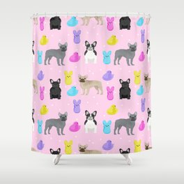 French Bulldog peeps marshmallow spring easter treats frenchie must haves dog breeds Shower Curtain