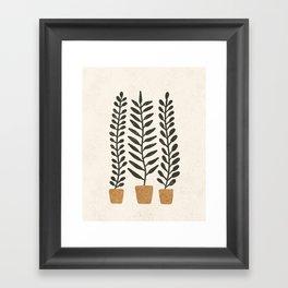 Potted Ferns - Terracotta, Black Framed Art Print