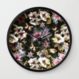 Amaryllis and Butterflies Wall Clock