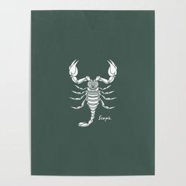 Scorpio White on Dark Green Background Poster