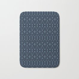 Abstract Shapes Lines Pattern Indigo Blue Batik Bath Mat