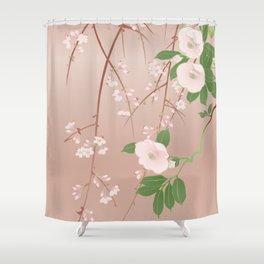 Japanese Spring Flowers Vintage Kimono Pattern Shower Curtain