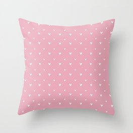 Small sketchy white hearts pattern on pink background Throw Pillow