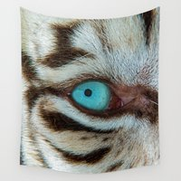 andreas preis Wall Tapestries featuring WHITE TIGER BEAUTY by Catspaws