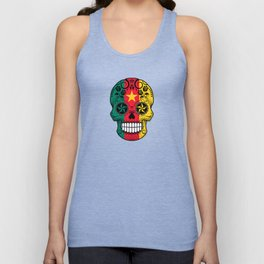 Sugar Skull with Roses and Flag of Cameroon Unisex Tank Top
