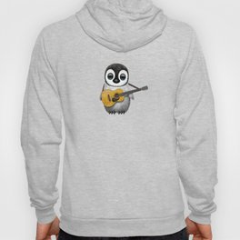 Musical Baby Penguin Playing Acoustic Guitar on Deep Red Hoody