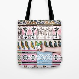 Cube against the tiles Tote Bag