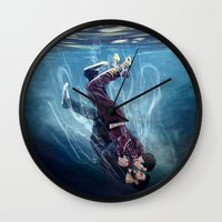underwater Wall Clocks featuring Underwater by MGNemesi