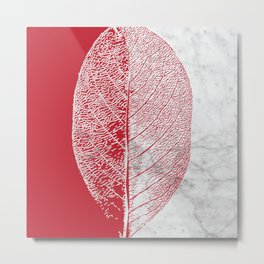 Natural Outlines - Leaf Red & White Marble #930 Metal Print