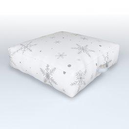 Twinkle Snowflake -Silver Grey & White- Outdoor Floor Cushion