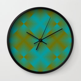 gradient squares pattern aqua olive Wall Clock