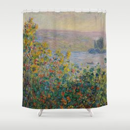 Flower Beds at Vétheuil, Claude Monet Shower Curtain