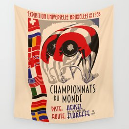 Retro cycling world championships 1935 Brussels Wall Tapestry