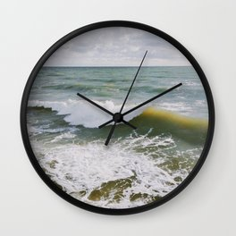 Yellow Wave Wall Clock