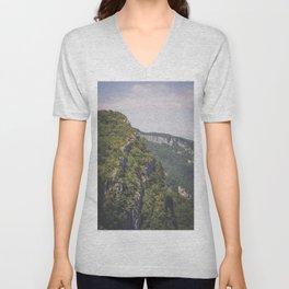 Minimal mountain landscape photograph / wanderlust fine art print / Vercors, France / explore / green Unisex V-Neck