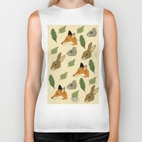 woodland Biker Tanks featuring woodland by Melrose Illustrations
