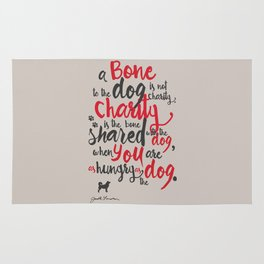 """Jack London on Charity - or """"a bone to the dog"""" Illustration, Poster, motivation, inspiration quote Rug"""