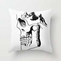 three of the possessed Throw Pillows featuring Possessed by the Mountains by Le Bureau Noir Studio