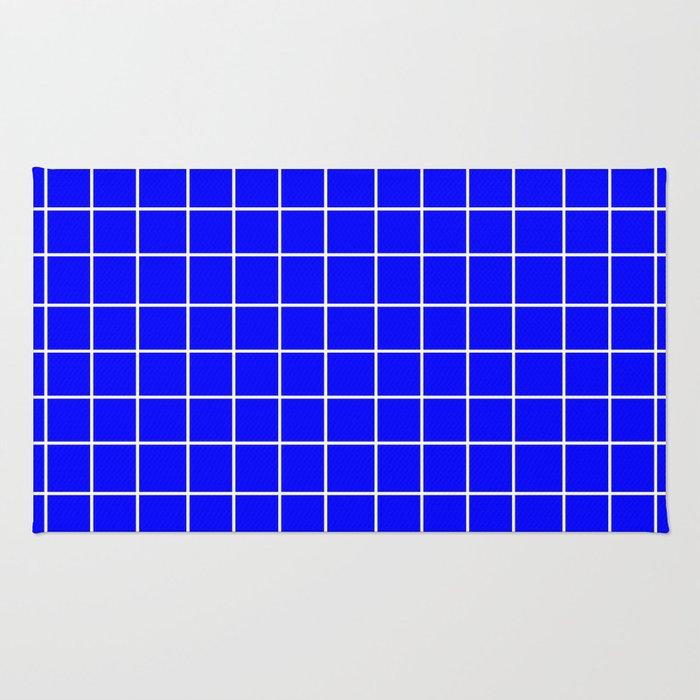 Grid (White/Blue) Rug