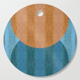 Orange Blues Geometric Shapes Cutting Board