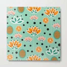 Summer flowers in mint Metal Print