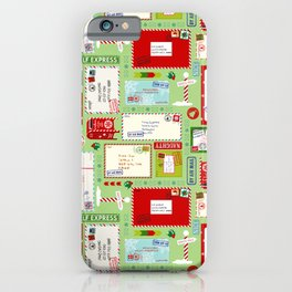 Kids Letters to Santa l Christmas Pattern - Mint Green iPhone Case