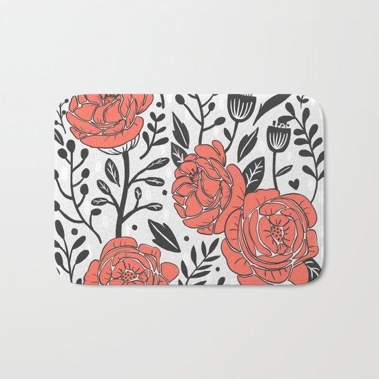 Orange Garden Bath Mat