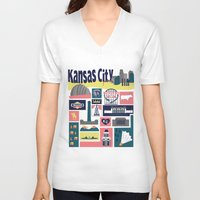 kansas V-neck T-shirts featuring Kansas City by cwassmer