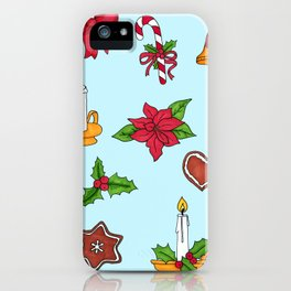 Christmas pattern (#2 blue) iPhone Case