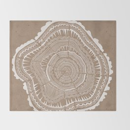 Tree Rings – White Ink on Kraft Throw Blanket