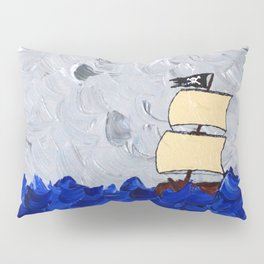 Pirate Ship On Stormy Seas in Acrylic Pillow Sham