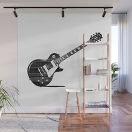 Black Guitar Wall Mural