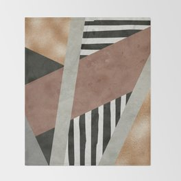 Abstract Geometric Composition in Copper, Brown, Black Throw Blanket