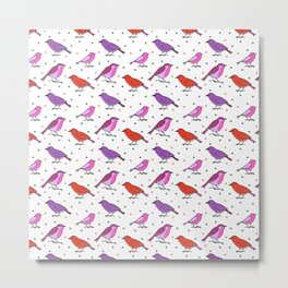 Fesive birds pattern with pink and purle Metal Print
