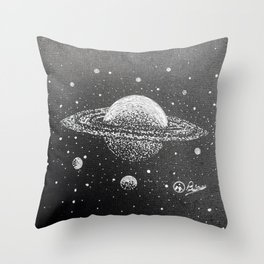 """""""Saturn's Moons"""" Outer Space Original Art, Planets, Galaxy Wall Decor Throw Pillow"""