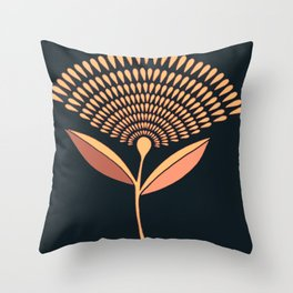 Mid Century Modern Dandelion Seed Head In Coral and Pink Throw Pillow