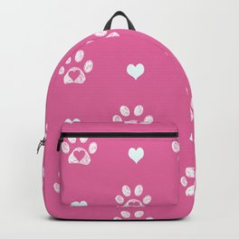 White doodle paw prints with pink hearts and pink background Backpack