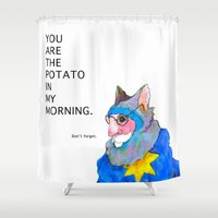 potato Shower Curtains featuring Morning Potato by Linville Fairlyfines
