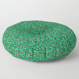 Greenery Green and Beige Leopard Spotted Animal Print Pattern Floor Pillow