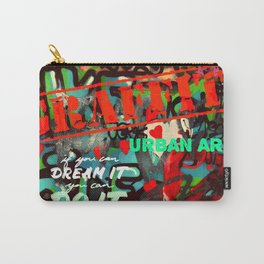 Blue teal crimson red fancy graffiti typography print Carry-All Pouch