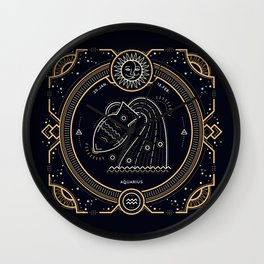 Aquarius Zodiac Golden White on Black Background Wall Clock