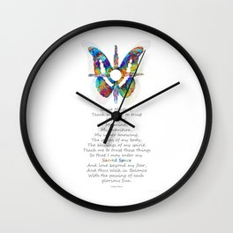 Native American Art - Sun Symbol Butterfly Healing Prayer - Sharon Cummings Wall Clock